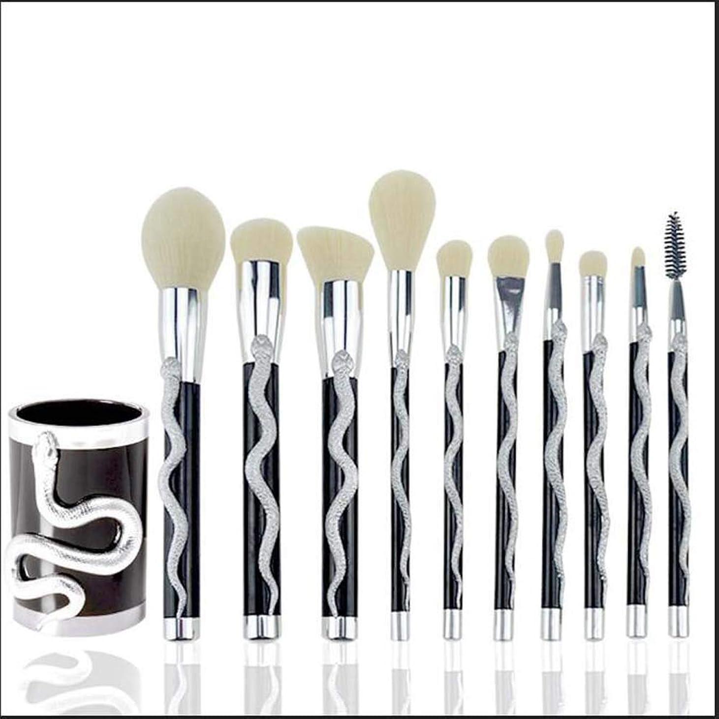 コンパニオン医学文化ヘビ型レーヨン化粧ブラシ美容ツール,Silver