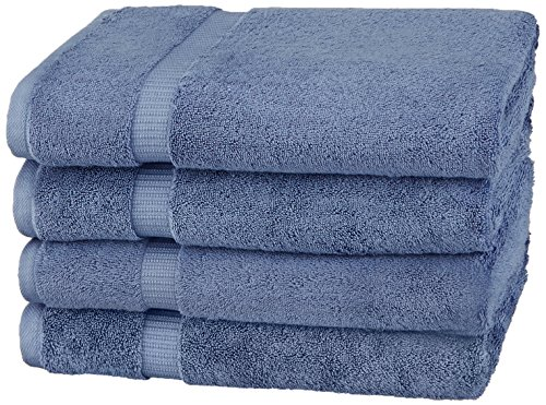 Amazon Brand – Pinzon Organic Cotton Bath Towel, Set of 4, Indigo Blue