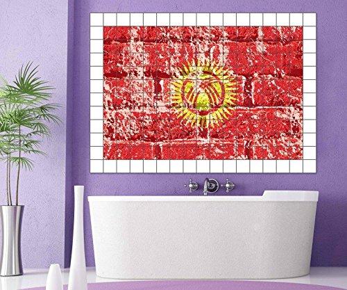 Fliesenaufkleber Kirgisistan Flagge Fahne 15 10 25 20 cm Fliesenbild Fliesen Fliesenbilder Aufkleber Bad Küche 8A357, Bildformat:120cmx80cm;Fliesengröße:Fliese 15x25cm