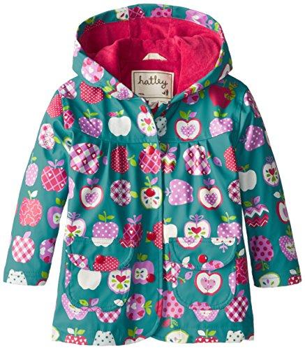 Hatley Little Girls' Girls' Raincoat - Patterned Orchard Apples, Green, 2