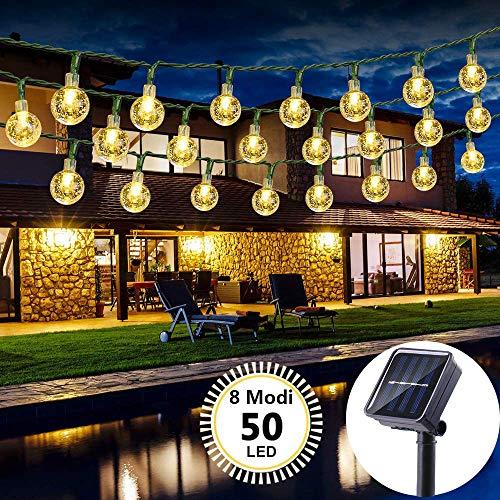 Solar Lichterkette Aussen, LED Solar Lichterkette mit Kristall Kugeln wasserdicht 23FT 50 LEDs 8 Modi Beleuchtung für Garten, Terrasse, Bäume, Hochzeiten, Fest Deko (warmweiß)