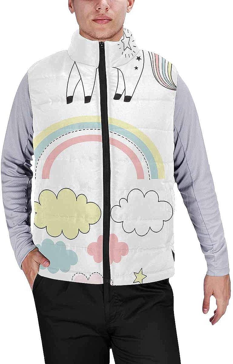 InterestPrint Winter Lightweight Personality Design Padded Vest for Men Unicorns and Ice Cream XS