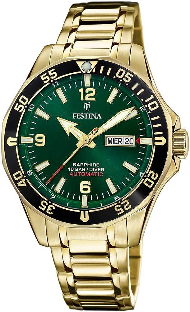 Festina orologio automatico da uomo in acciaio inossidabile e quadrante verde F20479/3