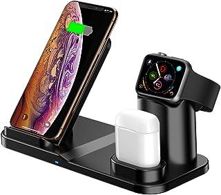 aphqua Qi ワイヤレス充電器 急速 3 in 1充電スタンド apple watch スタンド ワイヤレスチャージャー Airpods/Apple Watch充電器 iPhone X/XS/XR/8/8 Plus Qi 7.5W急速充電対応 Galaxy S9/S9 Plus/Note8/S8/S8 Plus/S7/S7 Edge/S6 Edge Plus 10W対応 その他Qi対応機種も適用 黒