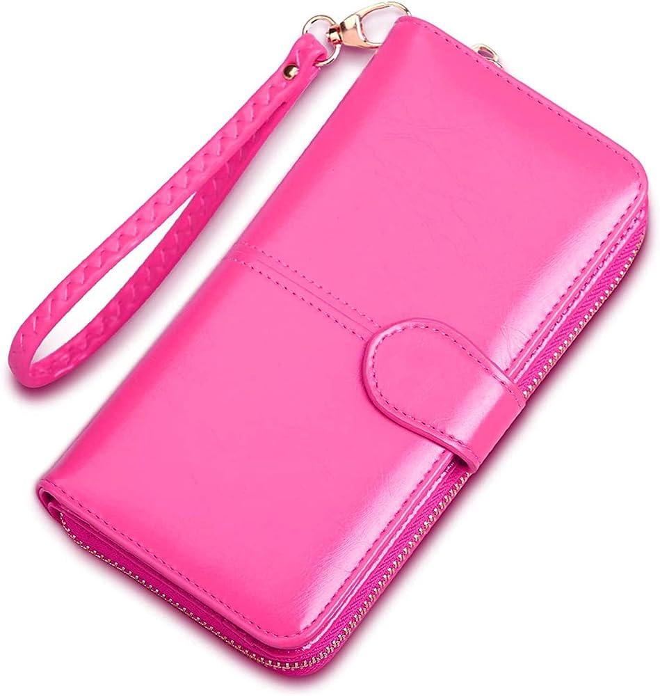 Forrica portafogli porta carte di credito da donna con cinturino da polso in pelle sintetica F-CJ008