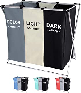 135L Laundry Hamper Sorter Basket Foldable 3 Sections with Aluminum Frame 25.5''×23''H Washing Storage Dirty Clothes Bag f...