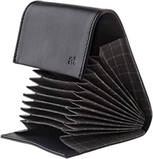 Antica Toscana Credit Card Holder Wallet Case in Real Italian Leather with 11 ID Business Card Slots Black