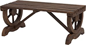 Outsunny Rustic Wood Wheel Outdoor Garden Bench for 2-People with a Unique Wheel Design on The Legs & Durable Build