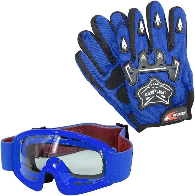Leopard Kinder Motorrad Motocross Handschuhe Und Zorax Brille Cross Motorrad Quad Off Road Für Youth Sport Freizeit