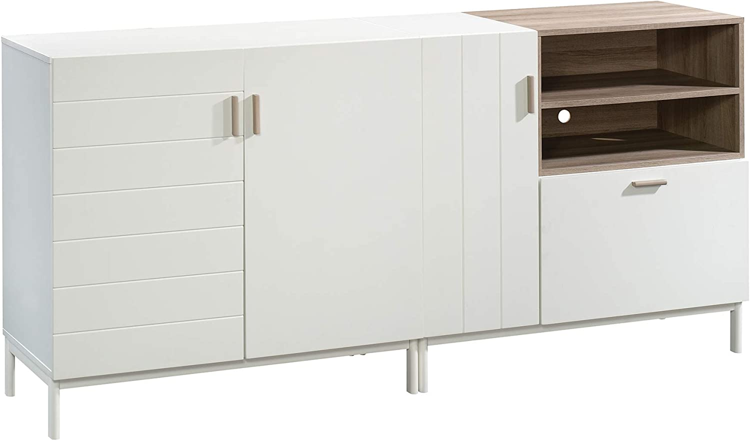 Sauder Free shipping anywhere in the nation Anda Norr Credenza for TVs New Shipping Free Shipping Finish up White 60