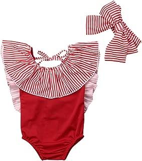 Toddler Baby Girl Bikini Backless Swimsuit Stripe Romper Ruffle Swimwear Outfit+Headband Beach Wear 2Pcs Set