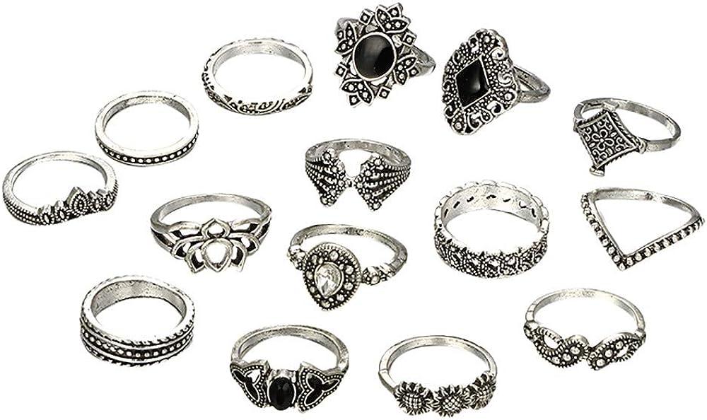 Womens Denver Lowest price challenge Mall 15Pcs Set Bohemian Knuckle Ring Black Flower Vintage