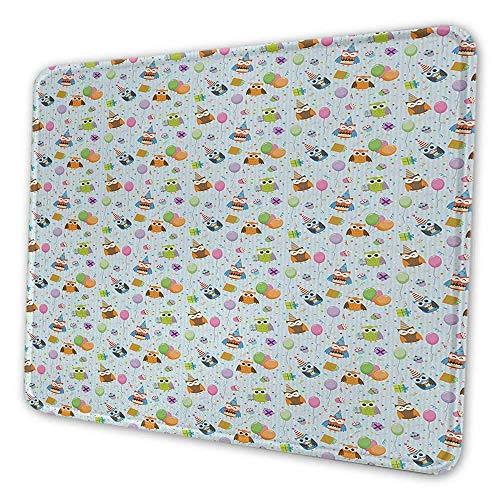 Artistic Mouse Pad zum Geburtstag Heiteres Fest Eulen in Partyhüten mit Geschenken Konfetti-Luftballons Leckere Kuchen Geeignet für Office Mouse Pad Multicolor