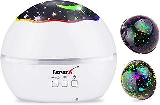 Lámpara Proyector, AsperX 2 en 1 Proyector Estrellas & Proyector de Luz Océano 360° Rotación Romántica Luz Estrellas y 8 Colores Regalo para Niños y Bebés Cumpleaños, Día de los Reyes, Navidad