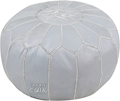 PAIR New Moroccan Leather Ottoman Pouffe Pouf Footstools 2