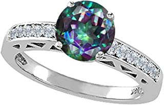 Tommaso Design Round 7mm Mystic Rainbow Topaz Solitaire Engagement Ring 14kt Gold