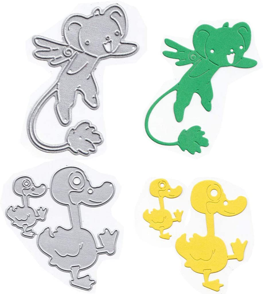 iSuperb Duck Die Cuts for Card Making Mouse Cutting Dies Stencil Scrapbooking Embossing Making Paper Card Crafts Duck+Mouse Carbon Steel Metal Template Mould DIY Photo Album