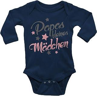 Mikalino Babybody mit Spruch für Mädchen Unisex Langarm Papas kleines Mädchen | handbedruckt in Deutschland | Handmade with Love
