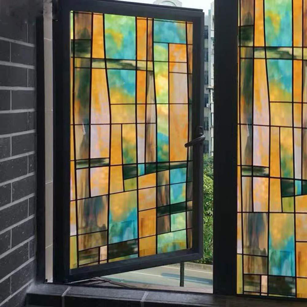 Yisj Pelicula Ventana Pegatinas con Efecto de Pintura de Arte en la Ventana de Las Ventanas Pegamento 3D Vidriera de Oficina Puerta corrediza Pegatinas,60x200cm: Amazon.es: Hogar