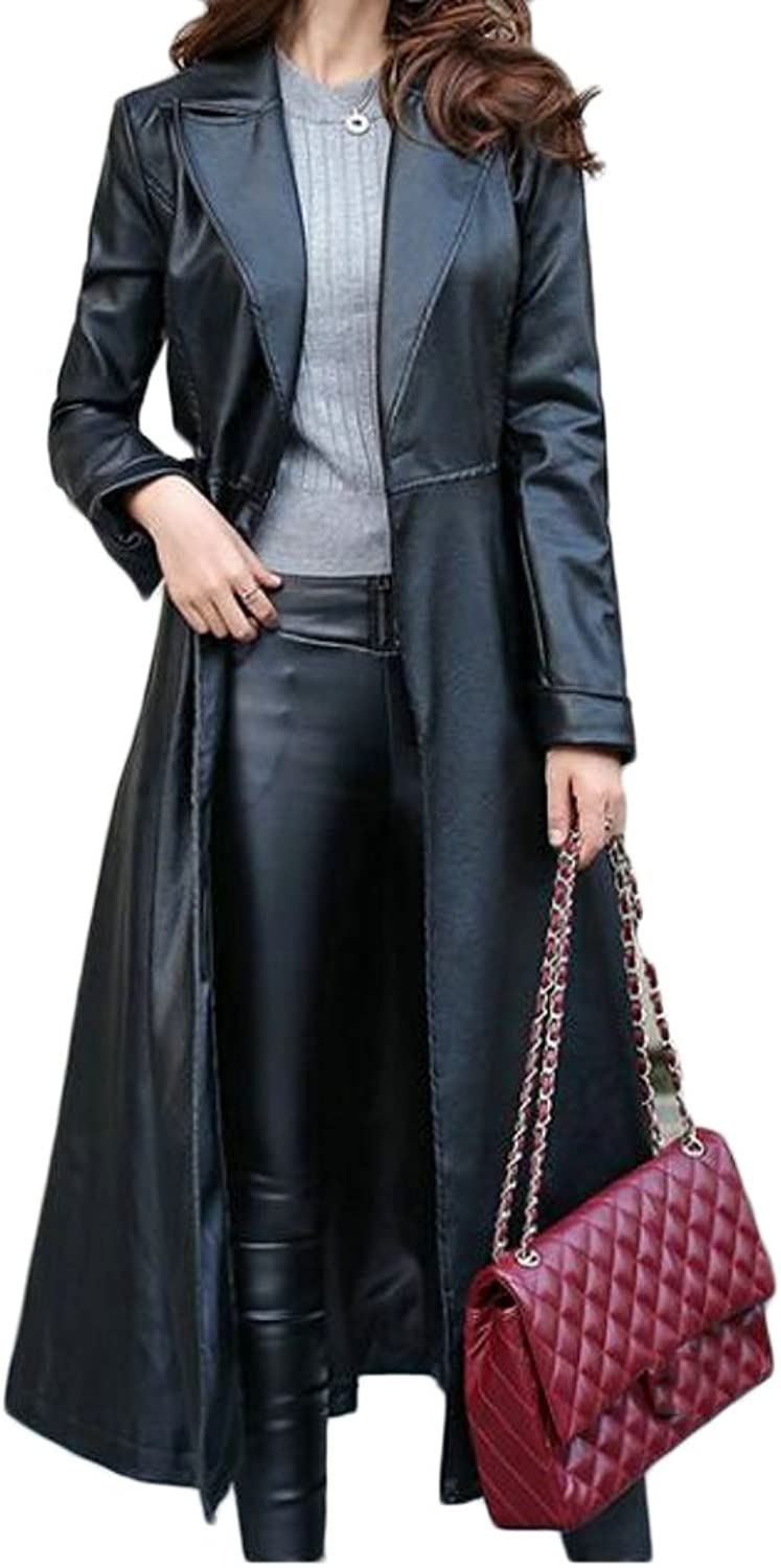 BYWX Women Midi Large Size AllMatch Winter Slimming Trenchcoat Overcoat