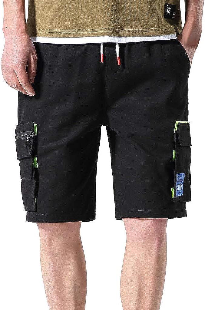 DIOMOR Men's Cargo Shorts Fashion Velcro Zipper Pockets 9 Inch Inseam Pants Teen Casual Elastic Waist Outdoor Trunks