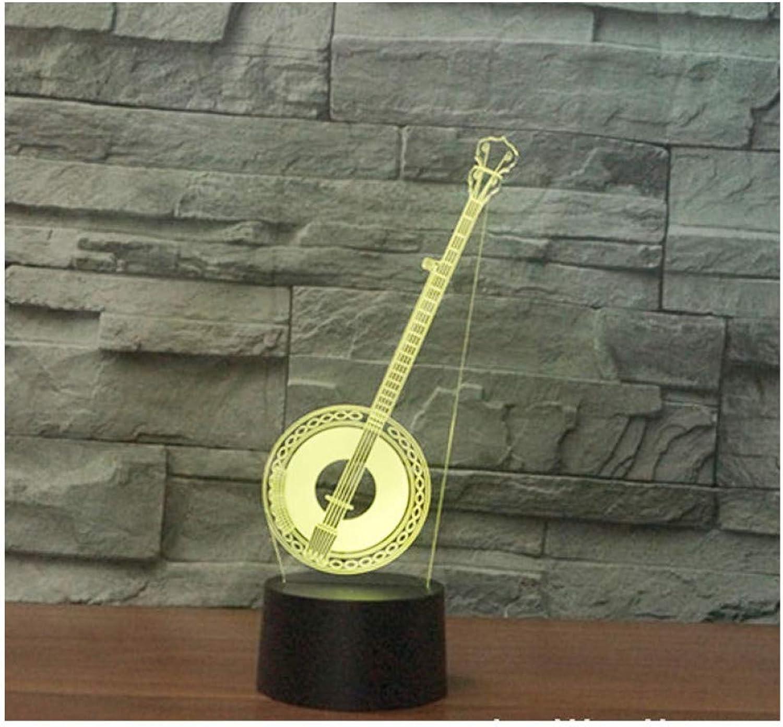 Sakj-d 3D Led Nachtlicht Musikinstrumente Huqin Mit 7 Farben Licht Für Heimtextilien Lampe Erstaunliche Visualisierung Optisch