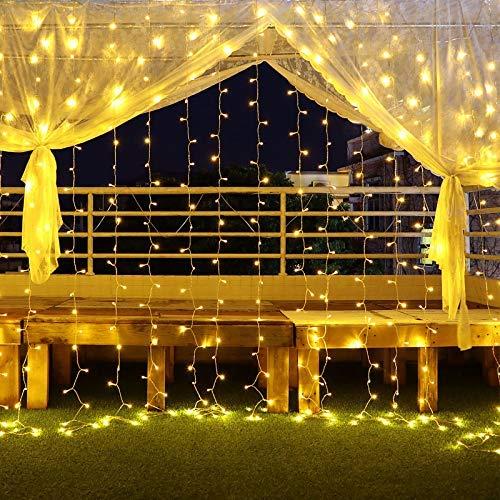 Luces Navidad, Cortina de Luces Led 6mx3m 600 Led Luz Cadena Navidad Impermeable con 8 Modos, Para Fiesta, Boda, Navidad, Guirnaldas luminosas de exterior interior