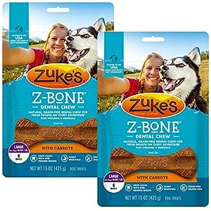 Zuke's Z-Bone Dental Chew Dog Treats, Carrot, Large, 12 Chews