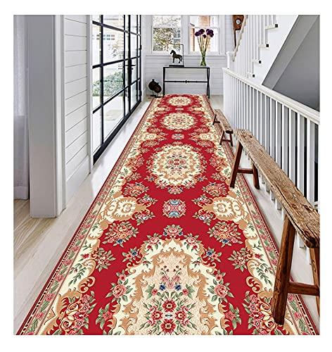 ditan XIAWU Korridorteppich Im Europäischen Stil Wohnzimmer Schlafzimmer Halle Veranda rutschfest Kann Geschnitten Werden (Color : Red, Size : 130x400cm)