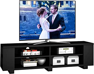 """Tangkula TV Stand, Modern Wood Storage Console Entertainment Center for TV up to 60"""", Home Living Room Furniture with 8 Open Storage Shelves (Black)"""