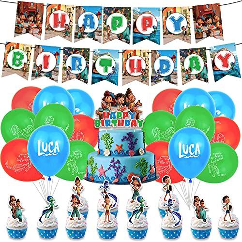Luca decoraciones de cumpleaños para tartas Luca Ballons Banners Alberto Party Supplies (32 unidades, MX-01-luca)