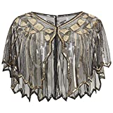 BABEYOND 1920s Shawl Wraps Sequin Beaded Evening Cape Bridal Shawl Bolero Flapper Cover Up (Black Gold)