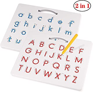 Apfity Magnetic Drawing Board, Magnetic Alphabet Letter Tracing Board- Educational ABC Letters Read Write Learn Preschool Gift for Boys and Girls