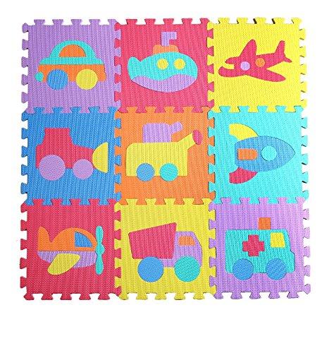 Jessie&Letty 90 * 90CM Soft Foam Puzzlematte Puzzle Playmat 36-teilig Kinderteppich Spielmatte Spielteppich Puzzle Alphabet & Numbers (Vehicles)