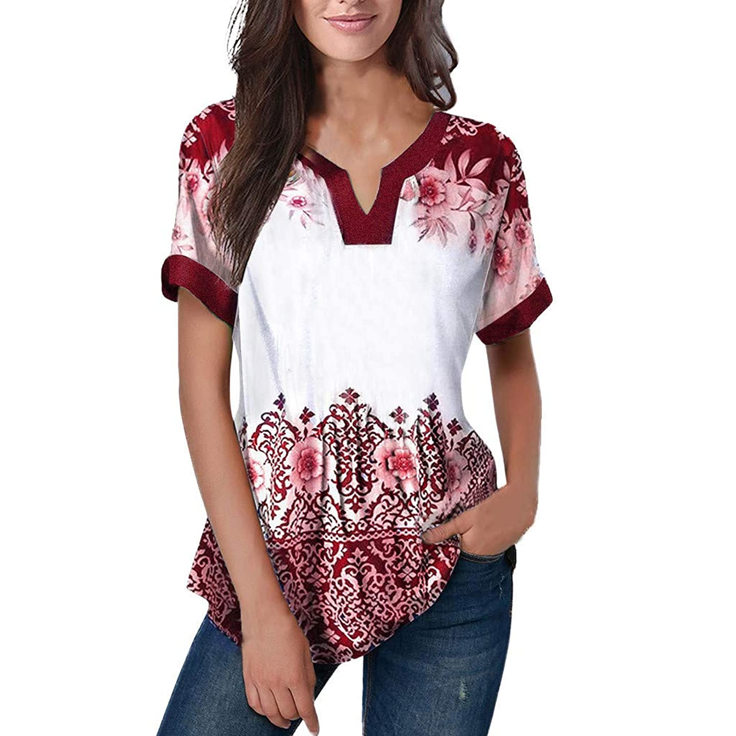 Women's Printed Short Sleeve Henley V Neck Pleated Casual Flare Tunic Blouse Shirt