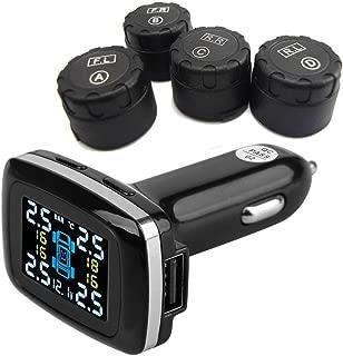 PerGrate Digital Tyre Pressure Monitoring System Black Motorcycle Tire Pressure Monitoring System TPMS with 2 Sensor for Motor Bike M3-WF