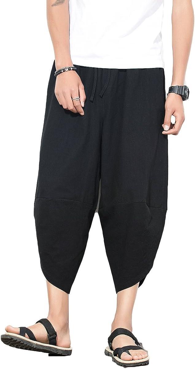 INVACHI Mens Casual Super-cheap High quality Elastic Waist Linen Capri Har Baggy Wide Leg