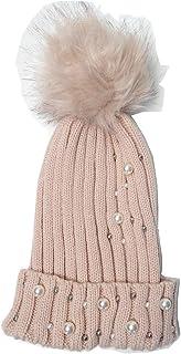 Winter Womens Girls Pom Pom Knit Beanie Hat and Fleece Gloves (Pink)