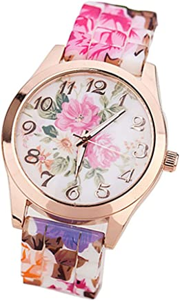 Hessimy Womens Fashion Watches New Ladies Business Bracelet Watch Luxury Crystal Sport Casual Leather Band Retro Floral Print Digital Analog Quartz Wrist Watches for Women On Sale