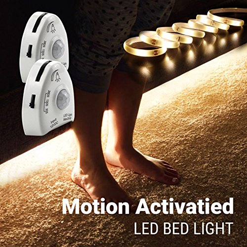 Motion Activated Night Light, illumiForce 5ft Under Bed LED Strip Light, Motion Sensor Navigation Light for Baby, Bedside, Stairs, More-Dual Kit Warm White Dimmable