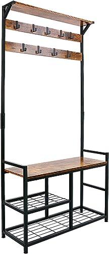 HOMEKOKO Coat Rack Shoe Bench, Hall Tree Entryway Storage Bench, Wood Look Accent Furniture with Metal Frame, 3-in-1 ...