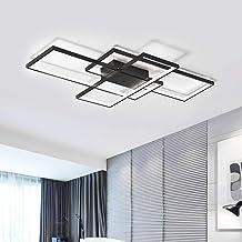 Jaycomey LED Ceiling Light,75W Modern Ceiling Lamp,3-Squares Acrylic Black LED Chandelier,Flush Mount Ceiling Light Fixtur...