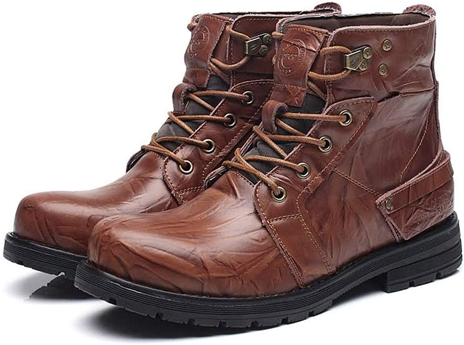 Tlgf Men's Casual Boots,Premium Waterproof Leather Lace Up Walking Hiking Boots,Rubber Sole,Ideal For Everyday Use