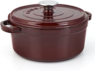 Essenso Grenoble 3 Layer Enameled Cast Iron Dutch Oven with Ceramic Coating, 5 qt, Cherry/Cream