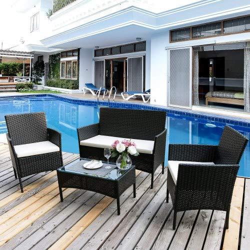 Fam famgizmo - Juego de muebles de jardín para interior y exterior, 4 piezas, color negro