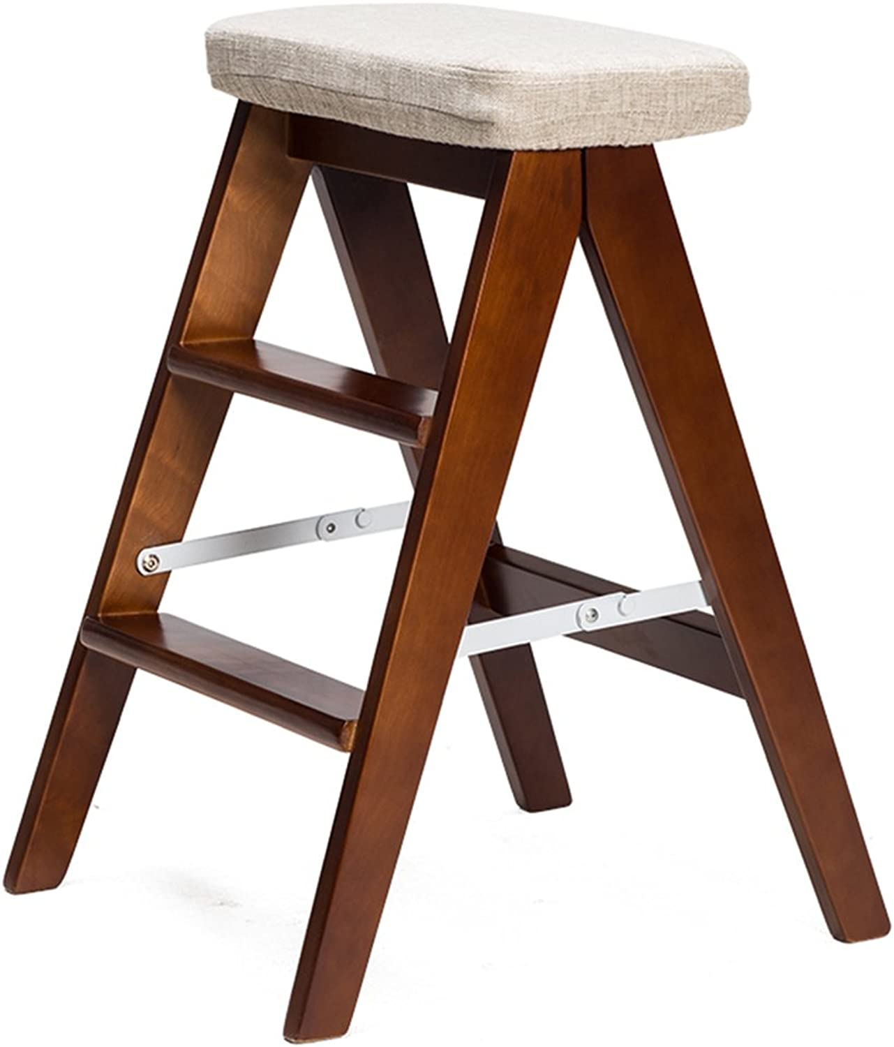 WSSF- Folding Solid Wood Ladder Stool Simple Portable Small Non-slip Treads Stepladder Stool Creative Furniture Garden & Kitchen Stool Chairs Household Multi-function Bench color Optional, 392059cm