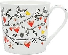 Fine Bone China Coffee Mugs,Cute Heart Mug Teacup for Wedding Birthday Anniversary Christmas Gift (15 Ounces Blue Heart)