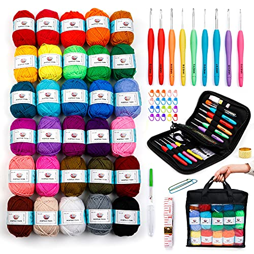 30 Acrylic Yarn Skeins 1.27 Ounce(36g) Each, 2180 Yards Assorted Yarn for Knitting and Crochet, 73PCS Crochet Accessories Set Including Ergonomic Hooks, Knitting Needles & More Ideal Beginner Kit