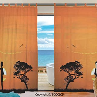 UHOO Tulle Polyester Window Sheer Curtain Child and Mother at Sunset Walking in Savannah Desert Dawn Kenya Panels Bedroom Living Room Window Gauze Shade Curtains 55x78 inch Two Panels Set