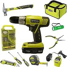 Ryobi Household Tool Set Bundle with Ryobi 18V ONE+ Drill, Drill Bits, Household Tools and Buho Pocket Flashlight